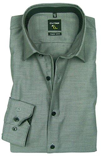 OLYMP No. 6 Six super slim Hemd Comfort Stretch grau Fischgrat 0498-64-68 Patch
