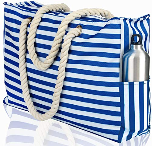 Beach Bag XXL. 100% Waterproof (IP64). L22 xH15 xW6 w Cotton Rope Handles, Top Zipper, Extra Outside Pocket. Blue Stripes Beach Tote Includes Waterproof Phone Case, Built-in Key Holder, Bottle Opener