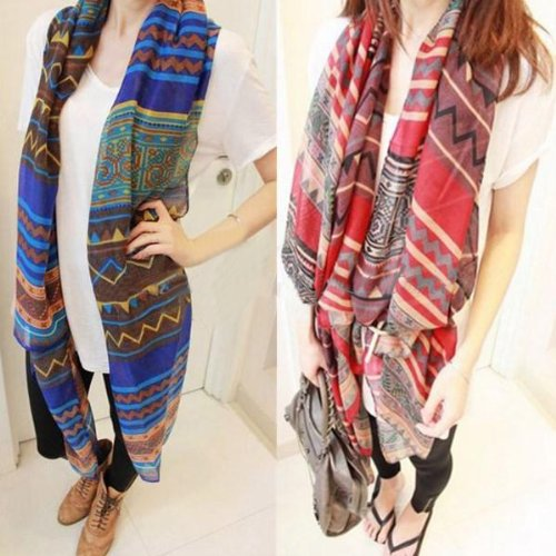 Leegoal Bohemian Women Lady Vintage Retro Voile Soft Silk Scarf Large Beach Shawl