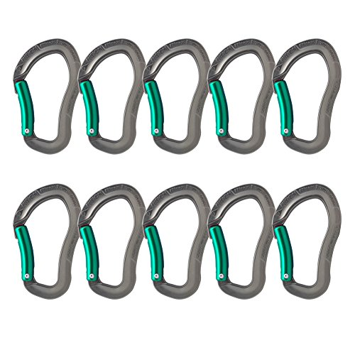 Fusion Climb Techno Zoom Bent Gate Ergonomic Carabiner Gray/Turqoise 10-Pack by Fusion Climb