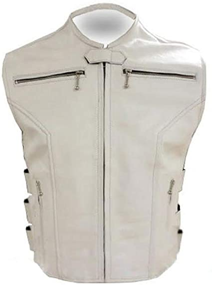 Mens Real Cow Leather White Vest Motorcycle Biker Style Vest Leather Waistcoat