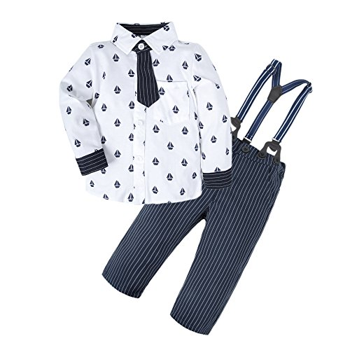 BIG ELEPHANT Baby Boys' 2 Pieces Long Sleeve Shirt Suspender Pants Clothing Set with Tie U18-100 2-3 Years