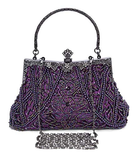 Selighting 1920s Vintage Beaded Clutch Evening Bags for Women Formal Bridal Wedding Clutch Purse Prom Cocktail Party Handbags (One Size, Purple)