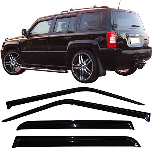 07-16 Jeep Patriot MK 4Dr Slim Style Tape On Window Visors - Smoke Tint ABS