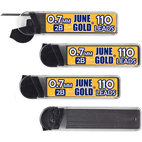 June Gold 440 Pieces, 0.7 mm 2B Lead Refills, 110 Pieces Per Tube, Medium Thickness, Break Resistant Lead/Graphite (Pack of 4 Dispensers)