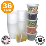 Food Storage Containers with Lids, Round Plastic Deli Cups, US Made, 16 oz, Pint Size, Leak Proof, Airtight, Microwave & Dishwasher Safe, Stackable, Reusable, White [36 Pack]