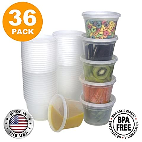 Food Storage Containers with Lids, Round Plastic Deli Cups, US Made, 16 oz, Pint Size, Leak Proof, Airtight, Microwave & Dishwasher Safe, Stackable, Reusable, White [36 - 16 Ounce Plastic Containers