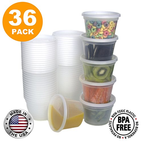 Food Storage Containers with Lids, Round Plastic Deli Cups, US Made, 16 oz, Pint Size, Leak Proof, Airtight, Microwave & Dishwasher Safe, Stackable, Reusable, White [36 Pack] (Plastic Containers Round)