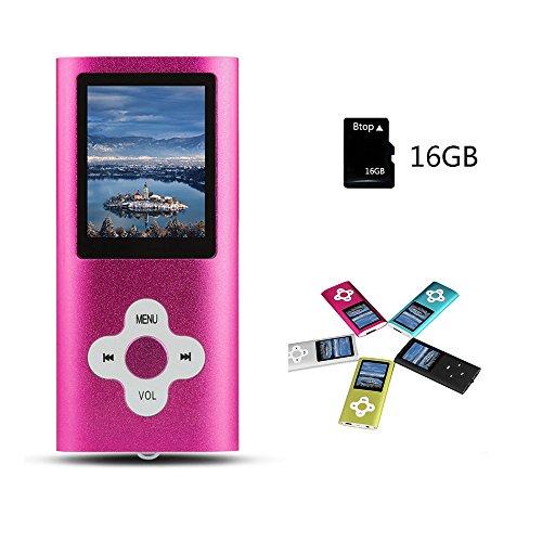 Btopllc MP3 Player MP4 Player Musik Player 16GB interne Speicherkarte Digital und kompakte MP3 / MP4 Musik Player, Video, Ebook Musik Player (rosa)