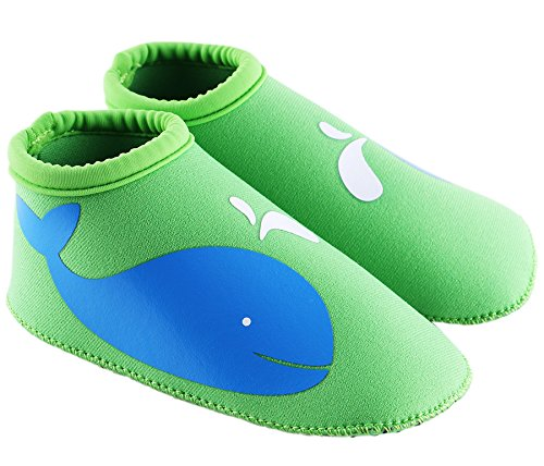 SUIEK Unisex Baby Infant Swim Shoes Water Shoes Beach Shoes (M (Sole length 5.3 inches, 12-24 Months), Green)