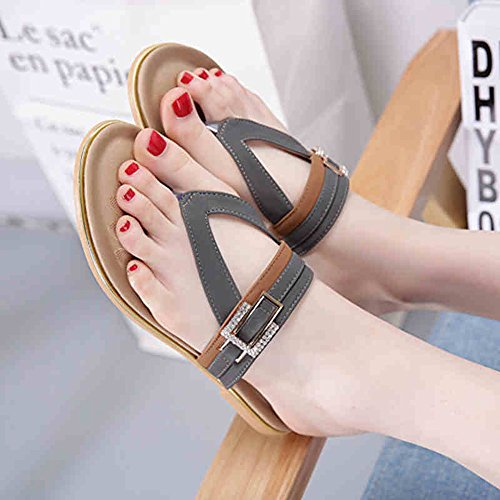 Slippers MEIDUO, Women's Sandals Spring Summer Fall Casual Party & Evening Flat Heel Rhinestone Black Gray Comfortable Grey