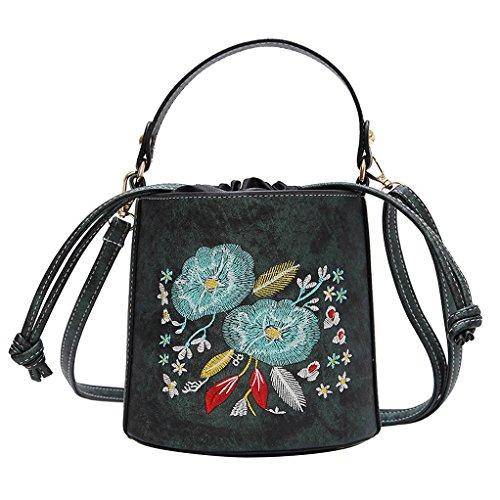 Shoulder for Bag Flower HPASS Handbag Bag Purse Crossbody Drawstring Green Bucket Designer Women Embroidered FxXptq