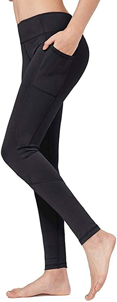 Auimank High Waist Out Pocket Fitness Pants,Tummy Control,Women Workout Leggings Sports Running Yoga Athletic Yoga Pant D-Black,Medium