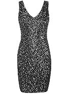 Kayamiya Women's 1920s V Neck Full Sequined Bodycon Mini Flapper Cocktail Dress