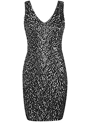 kayamiya Women's 1920s V Neck Full Sequined Bodycon Mini Cocktail Party Dress