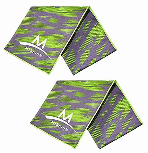 "Set of 2 Mission Enduracool 12"" x 33"" Cooling Towels, UPF 50 Cools Instantly When Wet (2 High Vis Green/Grey)"