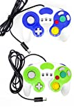Bowink 2 Packs Classic NGC Wired Controllers for Wii Gamecube (Blue and Green New)