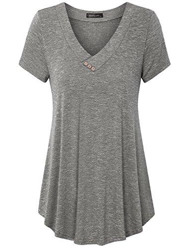 Vinmatto Women's Short Sleeve V Neck Flowy Tunic Top(3XL,Coffee) ()