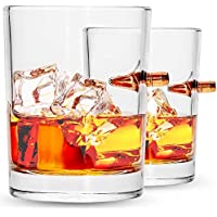 Lucky Shot .308 Bullet Whiskey Glass | Embedded Solid Copper Bullet Round | 10oz Lead Free Borosilicate Glass | Set (2)