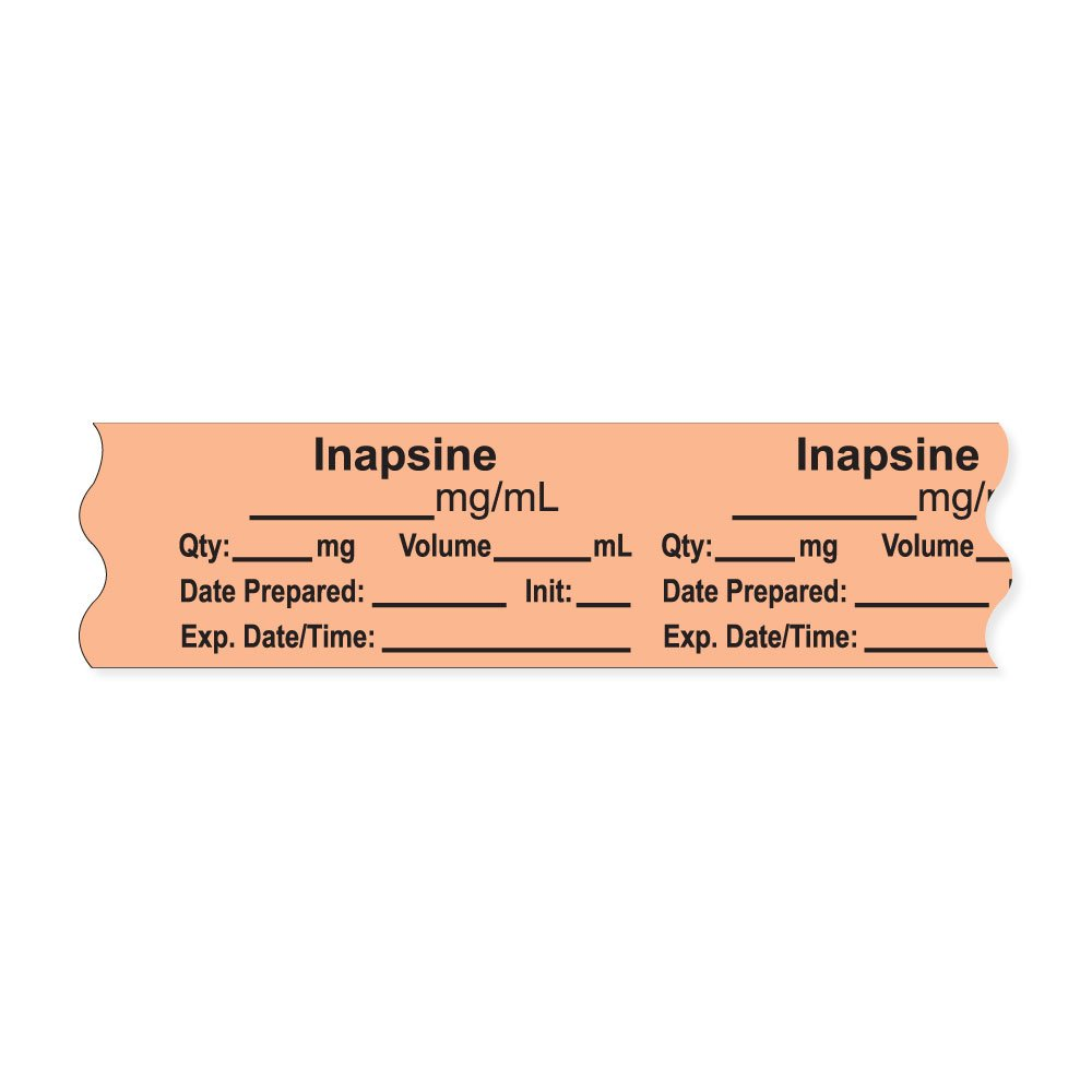 PDC Healthcare AN-2-54 Anesthesia Tape with Exp. Date, Time, and Initial, Removable, ''Inapsine mg/mL'', 1'' Core, 3/4'' x 500'', 333 Imprints, 500 Inches per Roll, Salmon (Pack of 500)