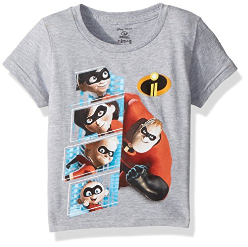 Character Kids T-shirt - Disney Kids' Toddler Incredibles 2 Character Panel Short Sleeve T-Shirt, Heather Grey, 4T
