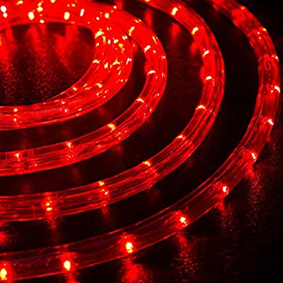 """WYZworks Red 1/2"""" Thick (10', 25', 50', 100', 150' option) PRE-ASSEMBLED LED Rope Lights - Christmas Holiday Decoration Lighting"""
