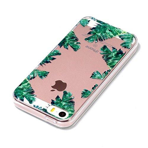 iPhone 5 5S / SE Hülle Grüne Blätter Premium Handy Tasche Schutz Transparent Schale Für Apple iPhone 5 5S / SE + Zwei Geschenk