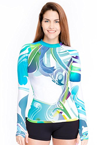 Platinum Sun Rash Guard Women Long-Sleeve Rashguard with Thumb Holes and Zipper