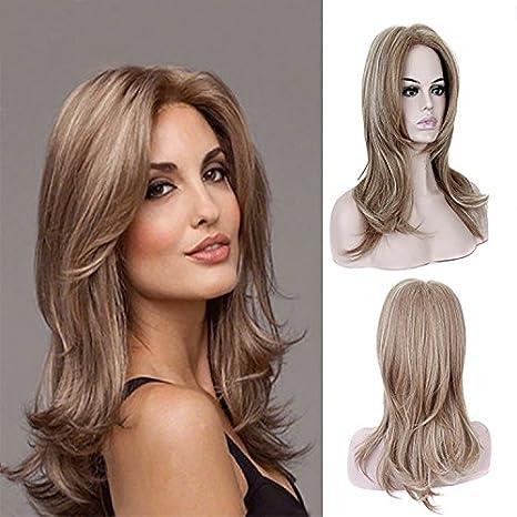 Peluca de pelo sintético ondulado de longitud media para mujer, de color castaño y rubio cenizo, ideal para fiestas: Amazon.es: Belleza