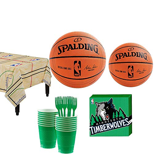 Party City Minnesota Timberwolves Party Kit 16 Guests, Includes Table Cover, Plates, Napkins and More]()