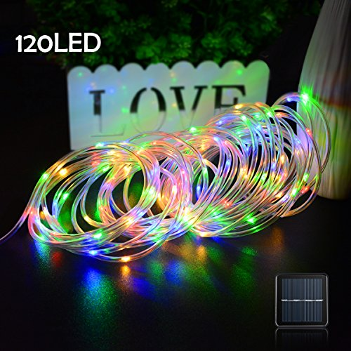 Lalapao Rope Lights 120 LED Solar Powered String Lights Christmas Fairy Decor Light with 8 Modes for Xmas Outdoor Indoor Tree Garden Patio Lawn Holiday Bedroom Wedding (Multi Color) -