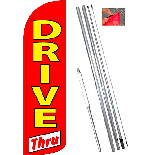 DRIVE THRU (Red/White) Windless Feather Flag Bundle (11.5' Tall Flag, 15' Tall Flagpole, Ground Mount Stake)