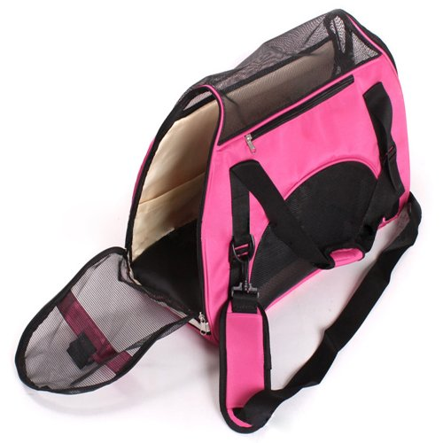 Aenmil(TM) 43*20*29cm Pet Dog Cat Carrier Travel Bag Hand Carry Tote (Hot-pink) For Sale