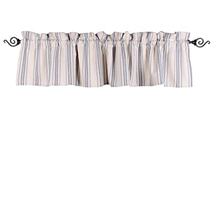 Home Collections by Raghu 72x15.5 Grain Sack Stripe Colonial Blue-Cream Valance