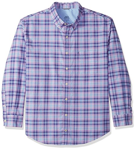 IZOD Men's Tall Long Sleeve Oxford Plaid Shirt, Sheer Lilac, 3X-Large (Plaid Sheer)