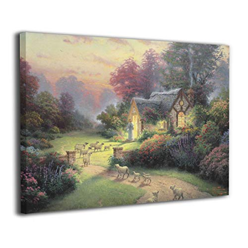 Grbfsawef The-Good-Shepherd-Cottage Interior Decorative Frame, Canvas Board Printing Decorative Painting