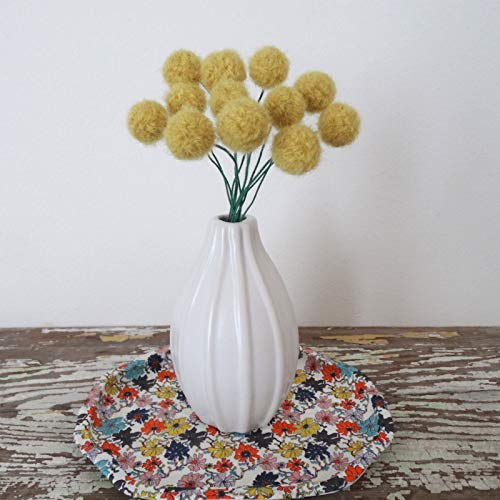 Mustard Straw Yellow Wool Pom pom Flowers. Fake Craspedia Flowers. Felted Wool Billy Balls, Buttons. Small Modern Bouquet. Round Flowers ()