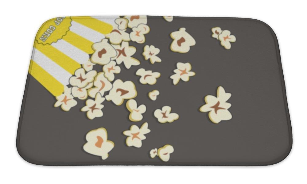 Gear New Bath Mat For Bathroom, Memory Foam Non Slip, Heap Popcorn For Movie Lies On Grey Illustration For Cinema Design Advertise, 24x17, 6051685GN