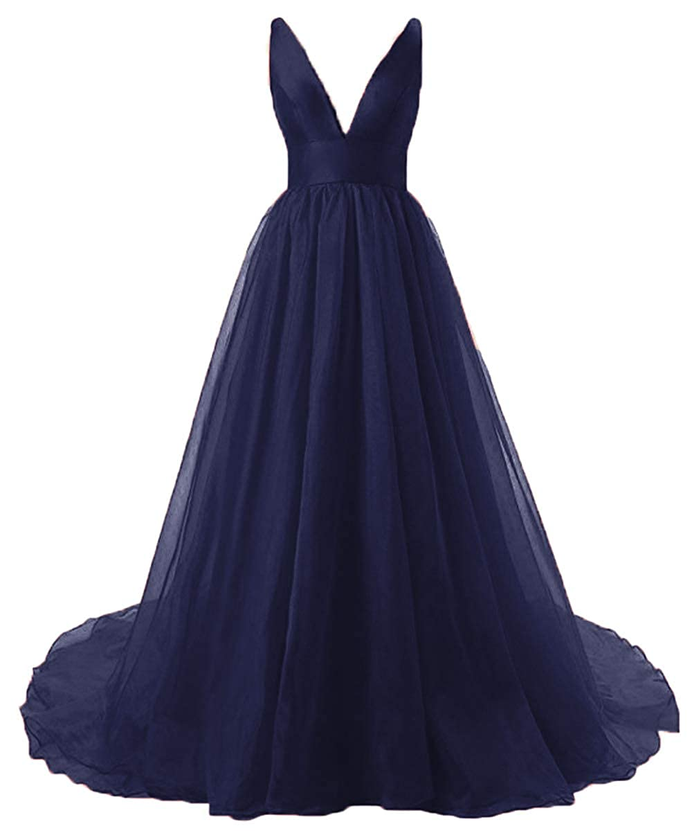 Navy bluee Fashionbride Women's Sexy Formal Part Dress Organza Deep VNeck Backless Long Prom Dresses