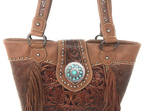 Fringe With Tooled Western Handbag Matching Trinity Wallet Shoulder Floral Wallet And Leather Ranch Set Brown Concealed Zip Bag Styling W of Tote Carry With Top Purse PZcwUq
