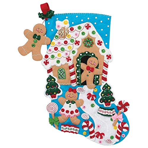 Bucilla 18-inch Christmas Stocking Felt Applique Kit, 86898E Gingerbread -