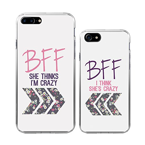 amazon com iphone 7plus 7 couple case ttott 2x floral best friendiphone 7plus 7 couple case ttott 2x floral best friend bff new fashion matching