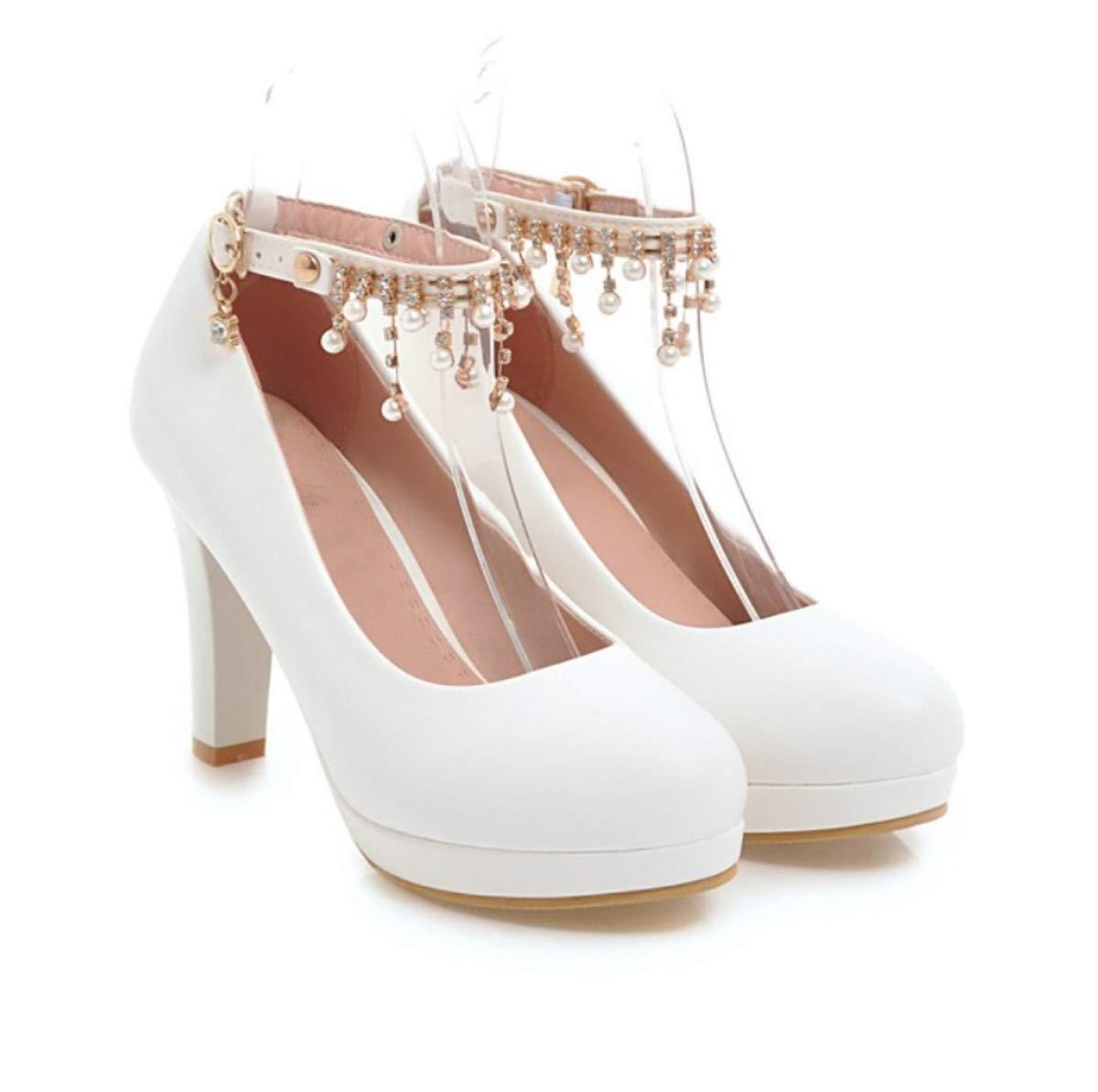 HBDLH Damenschuhe Frühling 10 cm High Heels Damenschuhe Süße Mode Dicke Schuhe Wasserdichte Tabelle Schuhe Flachen Mund Schnalle Arbeiten Schuhe