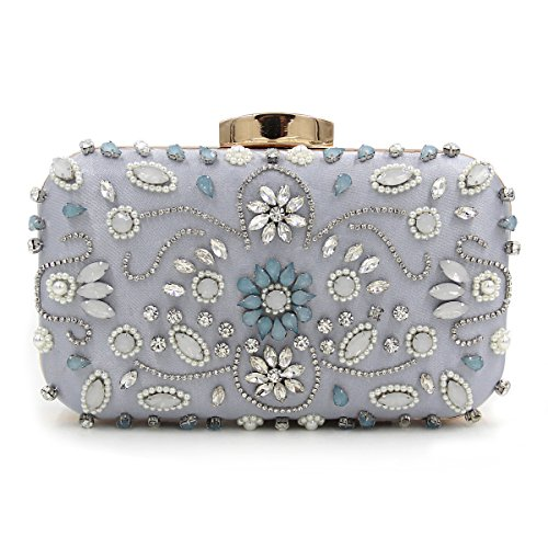 Party Clutches Bags Carved Evening Gray Lady Evening Rose Luxury Bag Metal Flowers Embroidery Shoulder Chain Colorful Dinner 54v1qwx