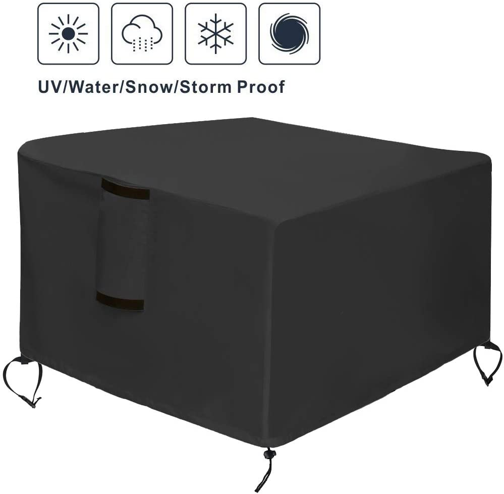 TheElves Square Fire Pit Table Cover, 30x30x13 Inch Waterproof Heavy Duty Patio Gas Firepit Table Cover
