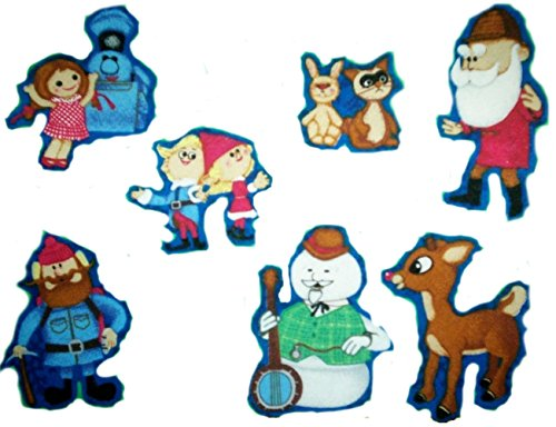 7-Count-Set-Custom-and-Unique-2-Inch-Festive-Rudolph-The-Red-Nosed-Reindeer-Assortment-Iron-On-Embroidered-Applique-Patch-Red-Blue-Green-Color