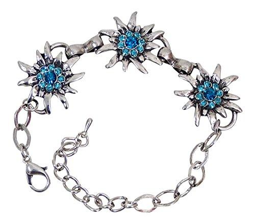 Trachtenschmuck Dirndl Armband mit 3 Kristall Edelweiss in antik silber farben (Aquamarin / blau türkis)