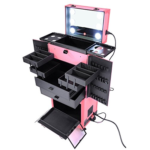 Triprel Inc Pro Rolling Makeup Multifunction Case w/Lights Mirror Cosmetic Aritist - PINK by Triprel Inc