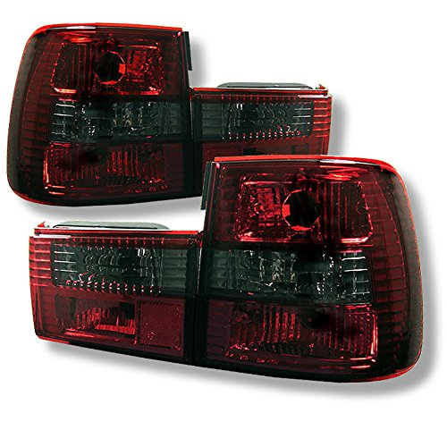 [4-Piece] For 1989-1995 BMW E34 5-Series Smoke Red Lens OE-Style Tail Light Housing Lamp Assembly Replacement Driver and Passenger Side