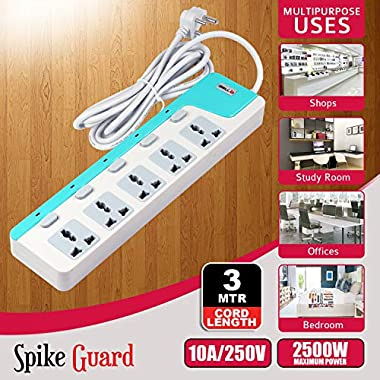 iBELL SG505X 5 Way Spike Guard Extension Cord with Individual Switch,LED Indicator,Power 2500W,10A ABS, White 10